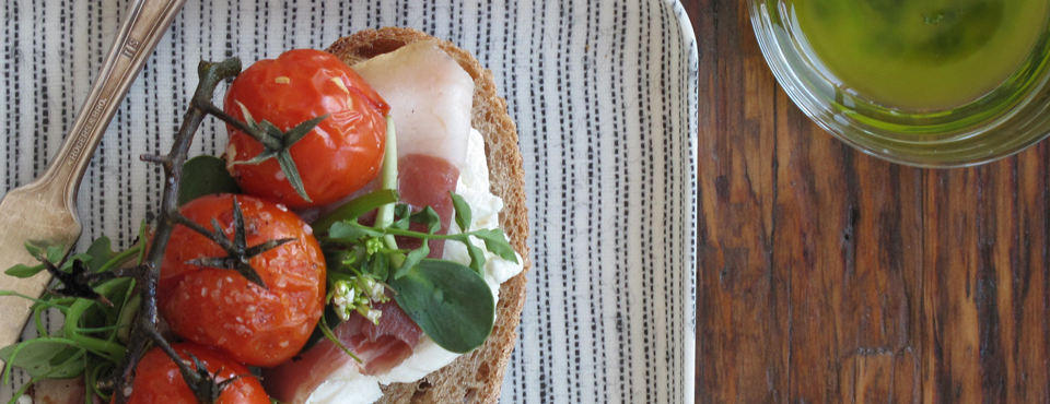 Tomato, Prosciutto and Pea Shoot Tartine with Pesto<span>Photograph, Food & Prop Styling and Recipe by Victoria Walsh</span>